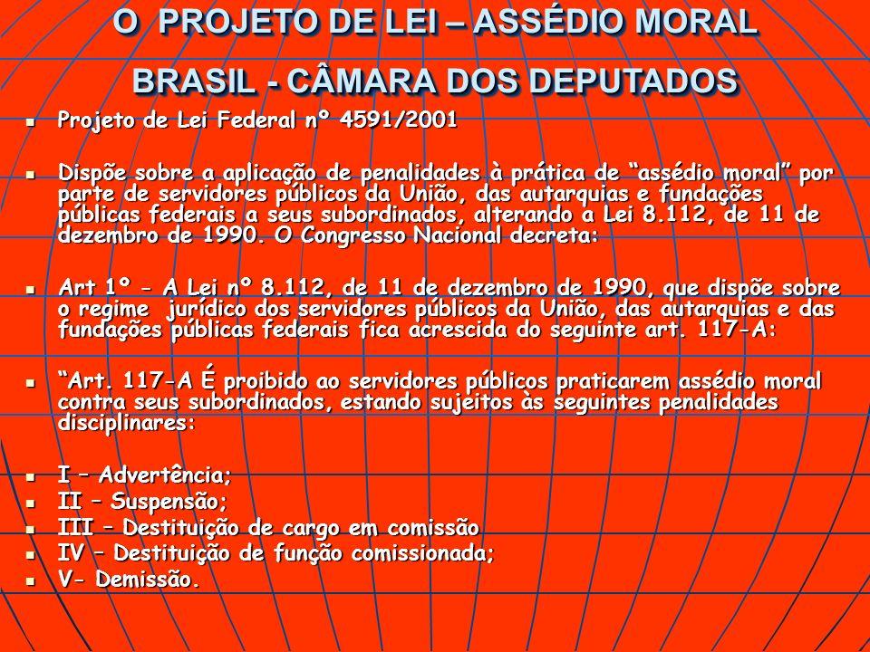 O PROJETO DE LEI – ASSÉDIO MORAL BRASIL - CÂMARA DOS DEPUTADOS