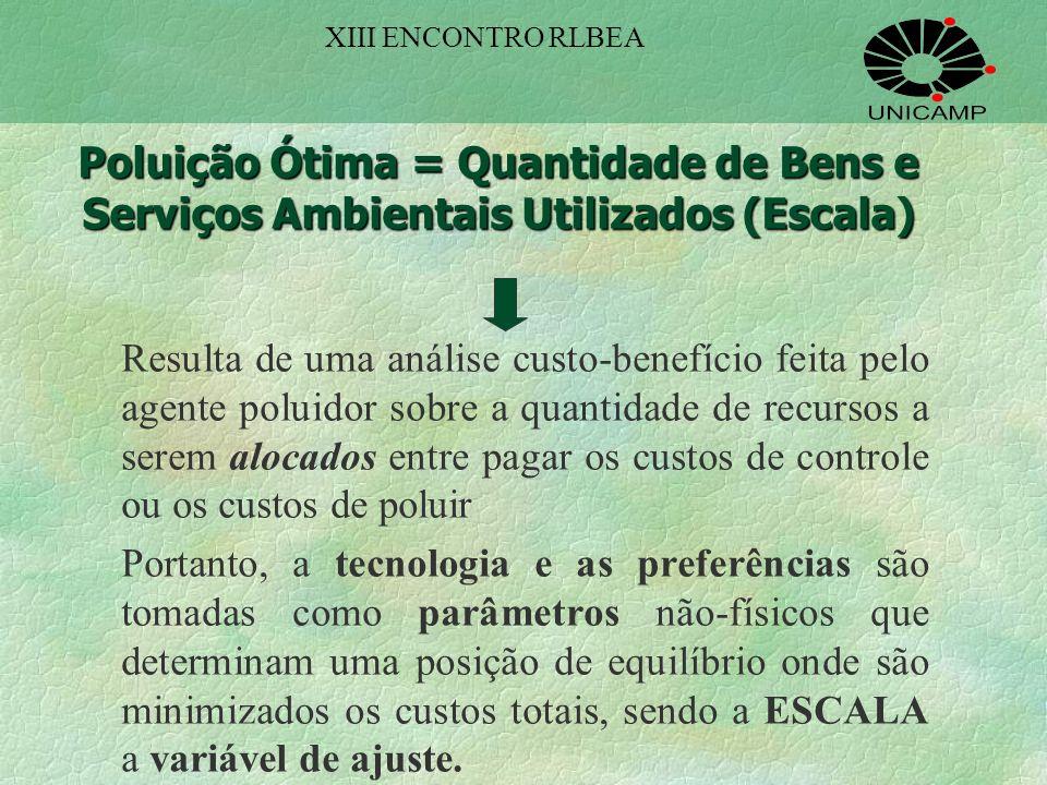 XIII ENCONTRO RLBEA Poluição Ótima = Quantidade de Bens e Serviços Ambientais Utilizados (Escala)