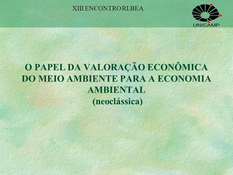 XIII ENCONTRO RLBEA O PAPEL DA VALORAÇÃO ECONÔMICA DO MEIO AMBIENTE PARA A ECONOMIA AMBIENTAL (neoclássica)