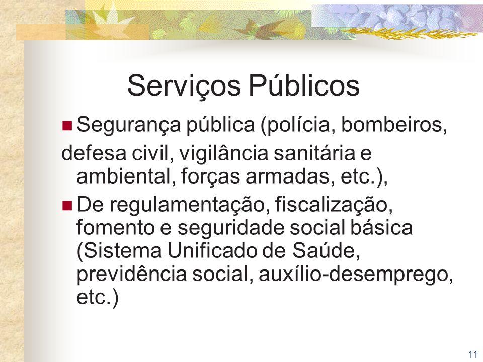 Serviços Públicos Segurança pública (polícia, bombeiros,