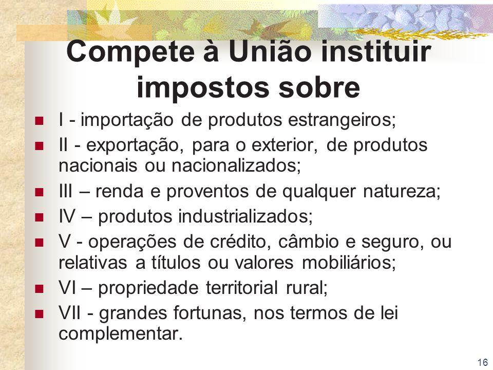 Compete à União instituir impostos sobre