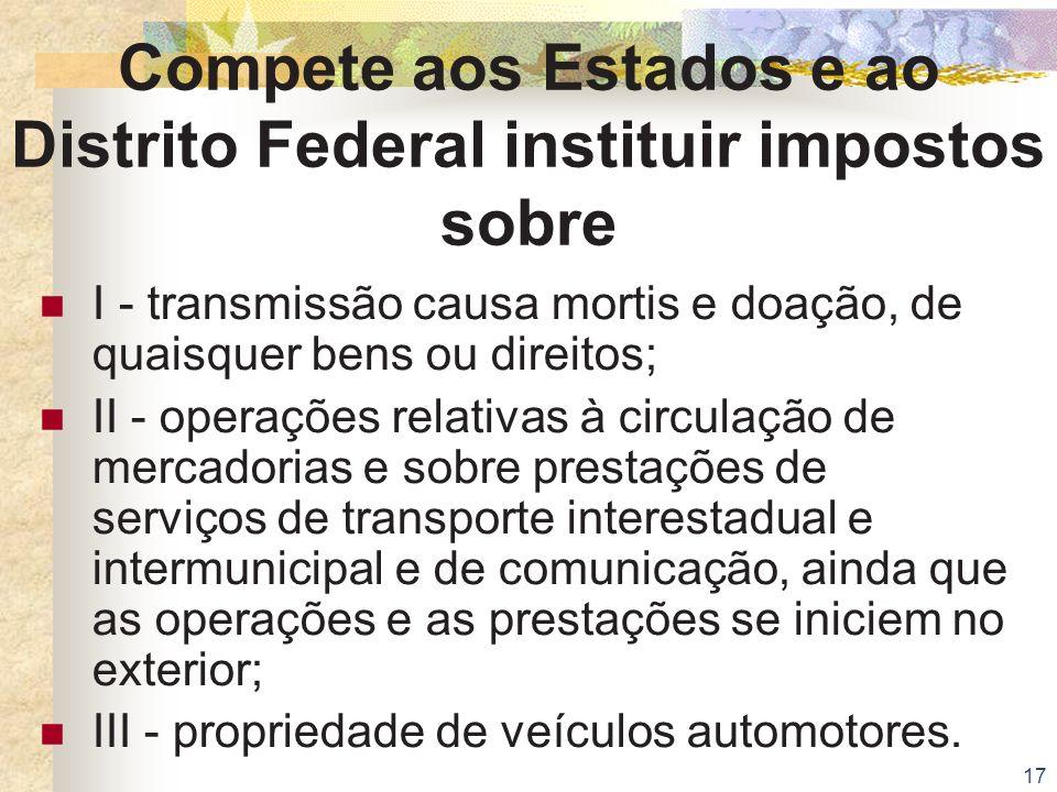 Compete aos Estados e ao Distrito Federal instituir impostos sobre
