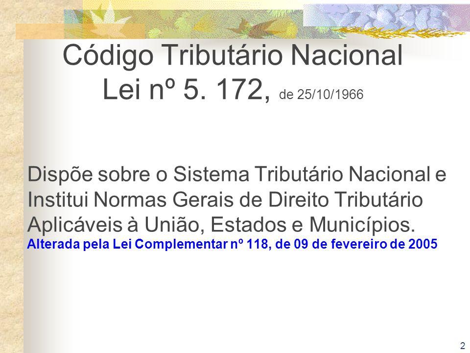 Código Tributário Nacional Lei nº 5. 172, de 25/10/1966