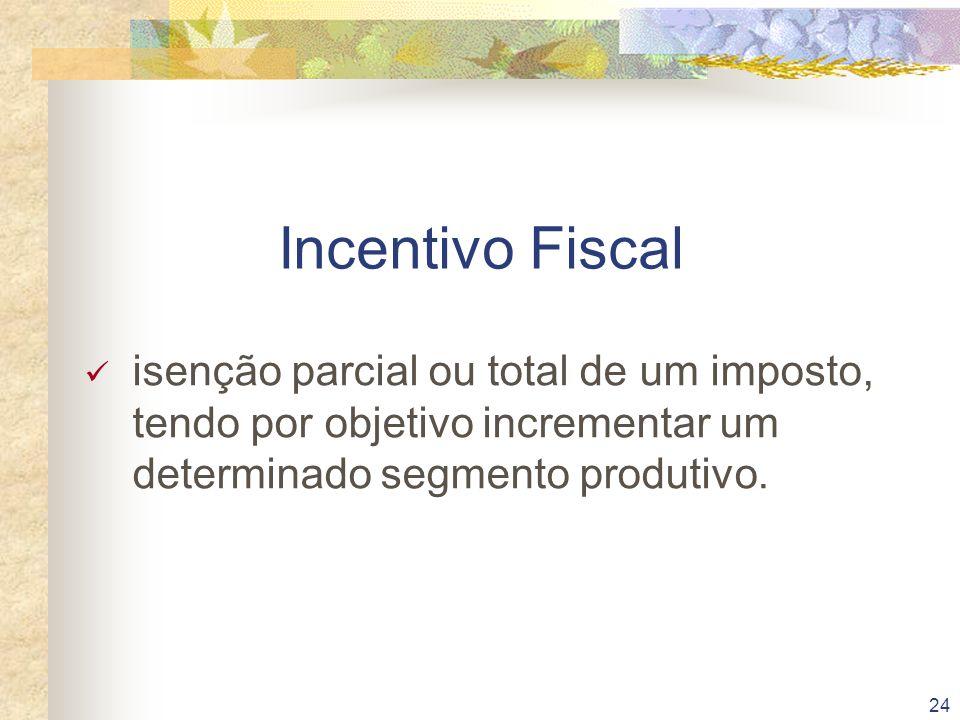 Incentivo Fiscal isenção parcial ou total de um imposto, tendo por objetivo incrementar um determinado segmento produtivo.