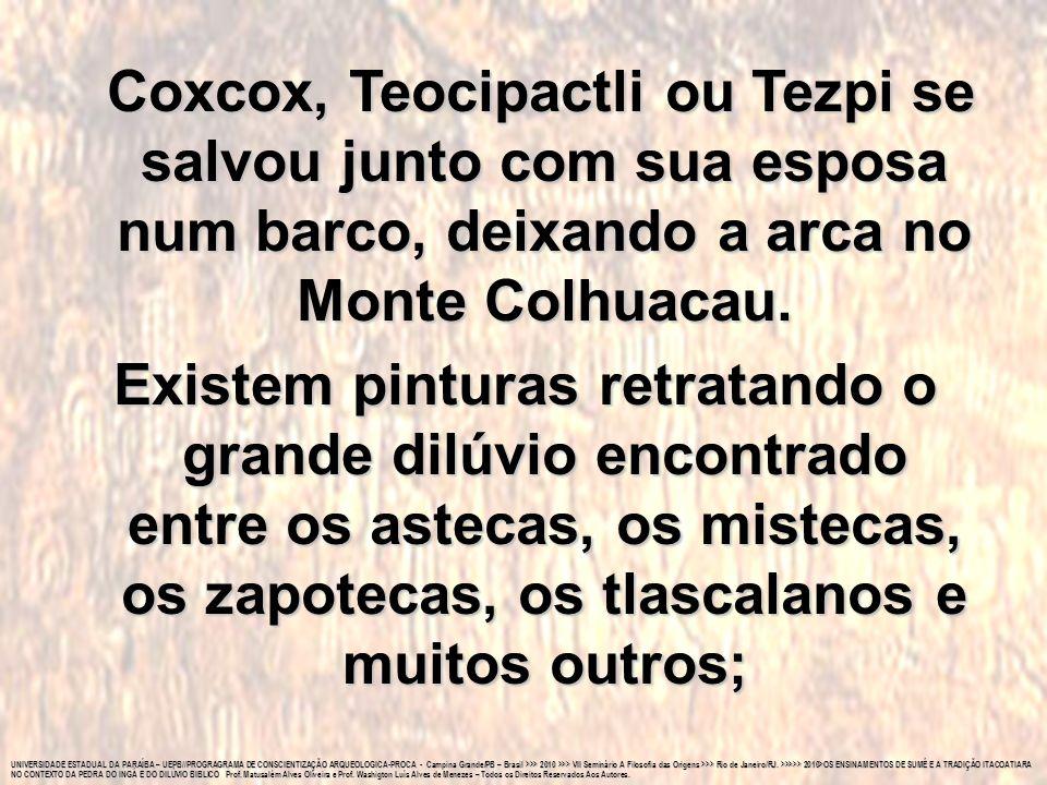 Coxcox, Teocipactli ou Tezpi se salvou junto com sua esposa num barco, deixando a arca no Monte Colhuacau.