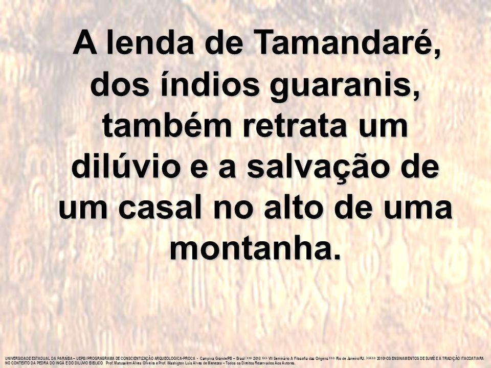A lenda de Tamandaré, dos índios guaranis, também retrata um dilúvio e a salvação de um casal no alto de uma montanha.