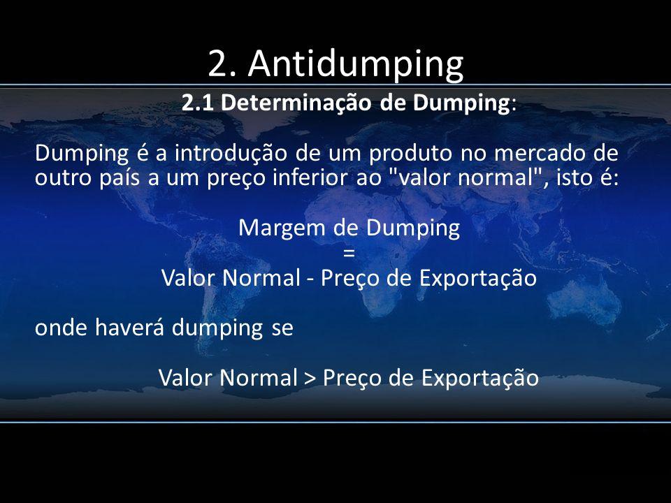 2. Antidumping 2.1 Determinação de Dumping: