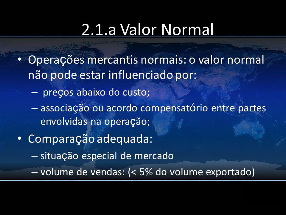 2.1.a Valor Normal Operações mercantis normais: o valor normal não pode estar influenciado por: preços abaixo do custo;