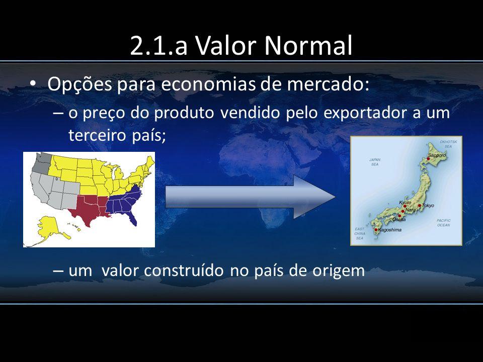 2.1.a Valor Normal Opções para economias de mercado: