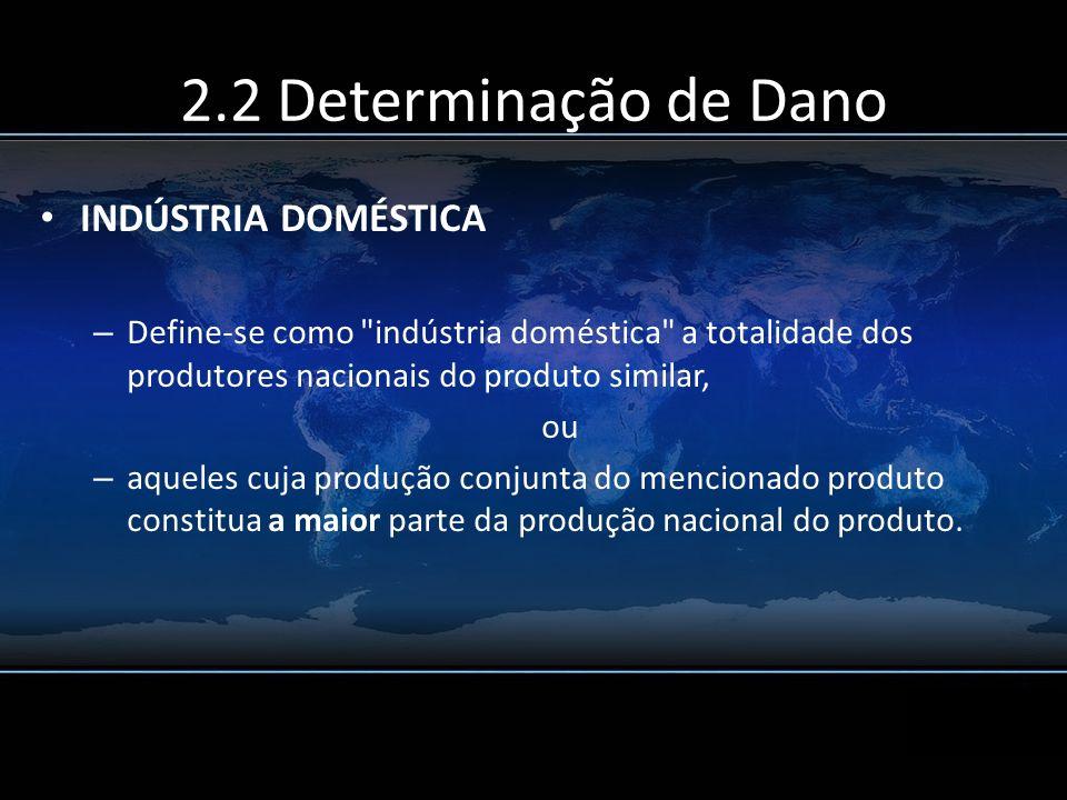 2.2 Determinação de Dano INDÚSTRIA DOMÉSTICA