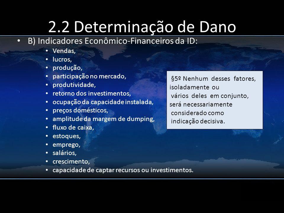 2.2 Determinação de Dano B) Indicadores Econômico-Financeiros da ID: