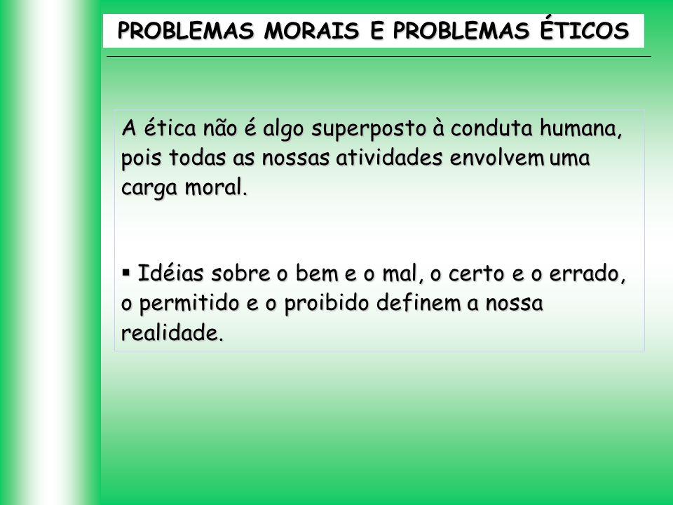 PROBLEMAS MORAIS E PROBLEMAS ÉTICOS