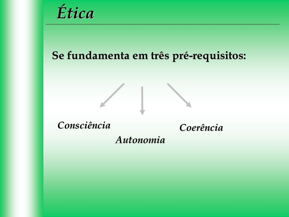 Ética Se fundamenta em três pré-requisitos: Consciência Coerência