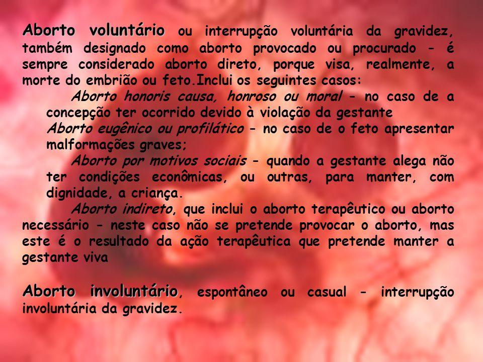 Aborto voluntário ou interrupção voluntária da gravidez, também designado como aborto provocado ou procurado - é sempre considerado aborto direto, porque visa, realmente, a morte do embrião ou feto.Inclui os seguintes casos: