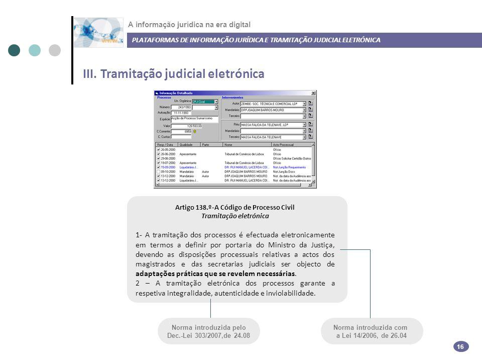 III. Tramitação judicial eletrónica