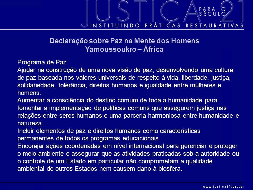 Declaração sobre Paz na Mente dos Homens Yamoussoukro – África