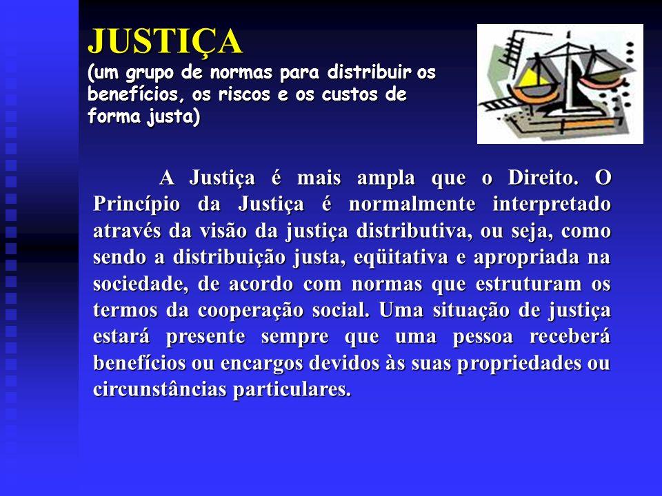 JUSTIÇA (um grupo de normas para distribuir os benefícios, os riscos e os custos de forma justa)