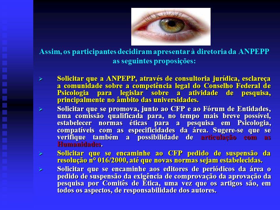 Assim, os participantes decidiram apresentar à diretoria da ANPEPP as seguintes proposições: