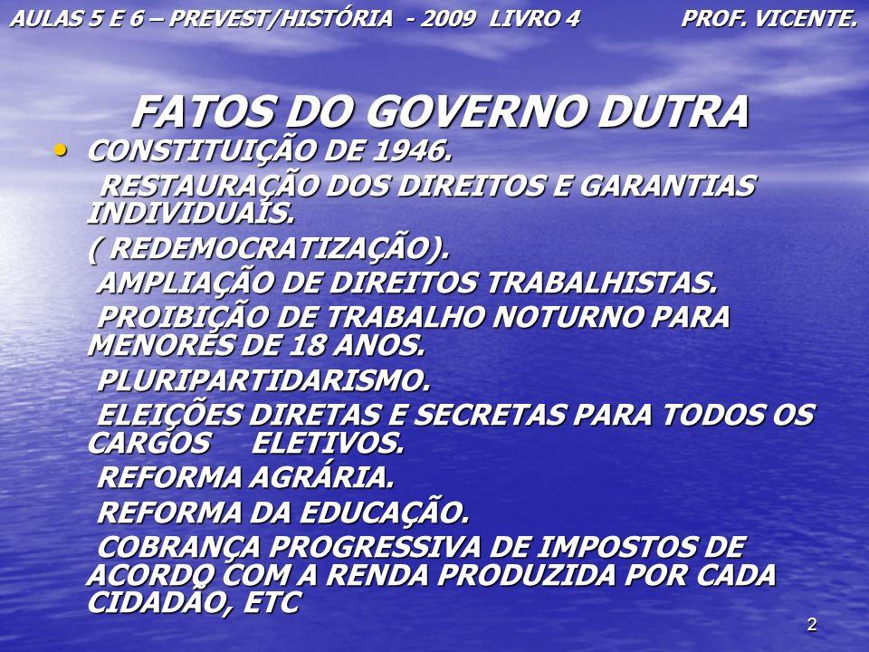 FATOS DO GOVERNO DUTRA CONSTITUIÇÃO DE 1946.