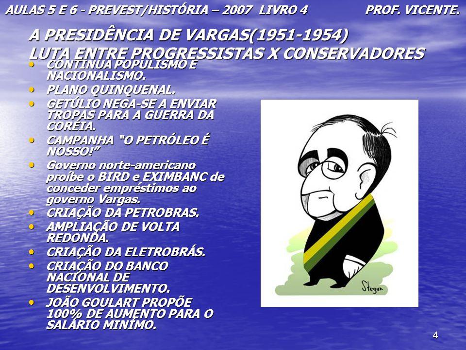 AULAS 5 E 6 - PREVEST/HISTÓRIA – 2007 LIVRO 4 PROF. VICENTE.