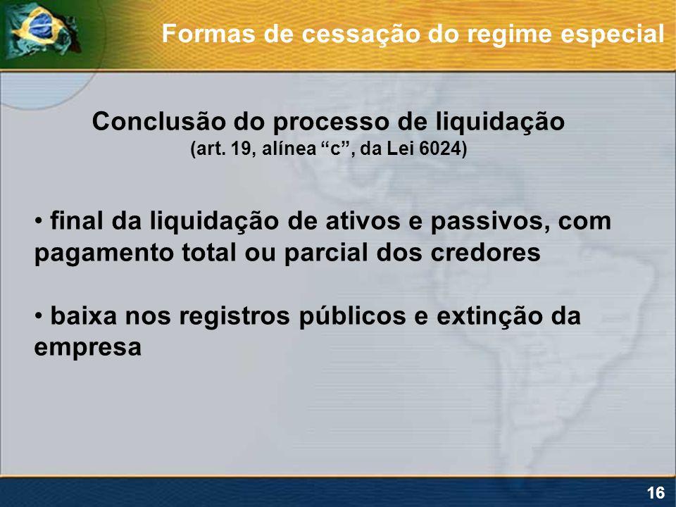 Conclusão do processo de liquidação