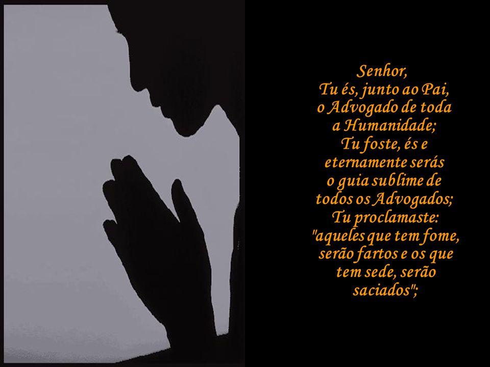 Senhor, Tu és, junto ao Pai, o Advogado de toda a Humanidade; Tu foste, és e eternamente serás o guia sublime de todos os Advogados;