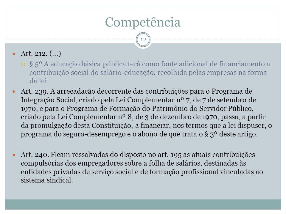 Competência Art. 212. (...)