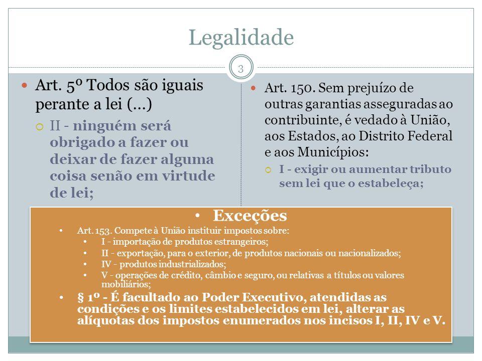 Legalidade Art. 5º Todos são iguais perante a lei (...) Exceções