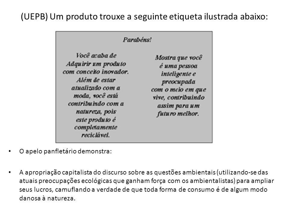 (UEPB) Um produto trouxe a seguinte etiqueta ilustrada abaixo: