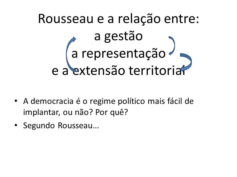 Rousseau e a relação entre: a gestão a representação e a extensão territorial
