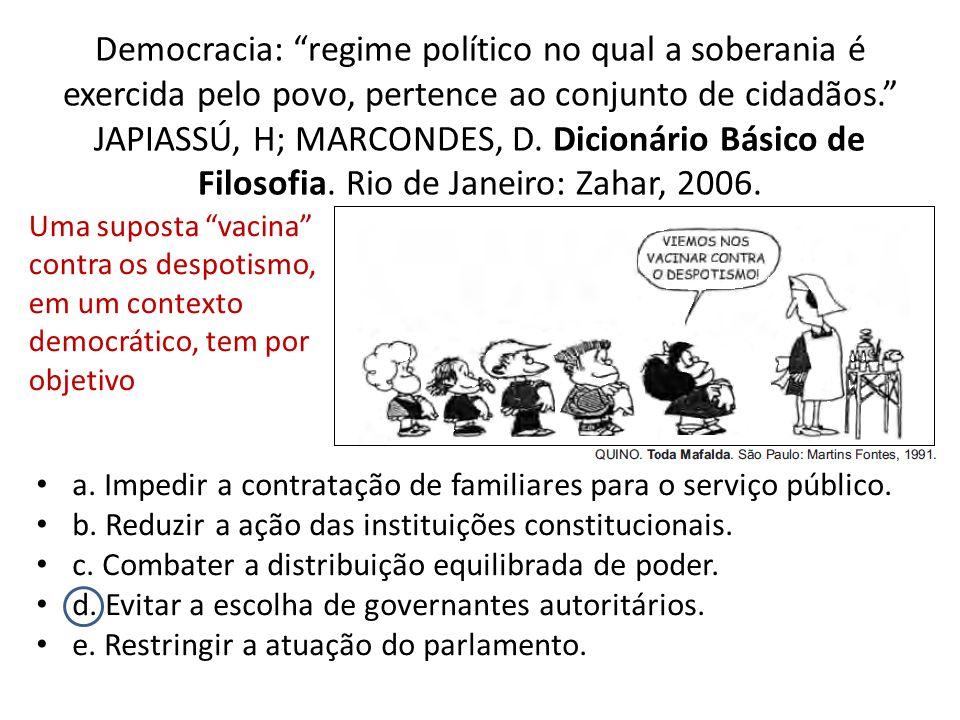 Democracia: regime político no qual a soberania é exercida pelo povo, pertence ao conjunto de cidadãos. JAPIASSÚ, H; MARCONDES, D. Dicionário Básico de Filosofia. Rio de Janeiro: Zahar, 2006.