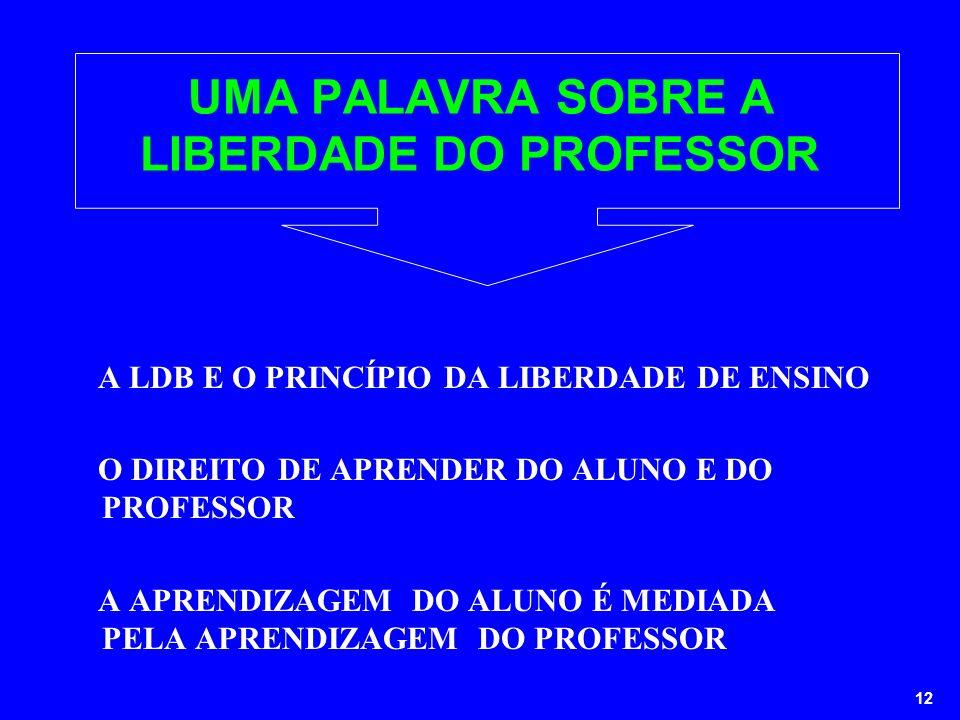 UMA PALAVRA SOBRE A LIBERDADE DO PROFESSOR
