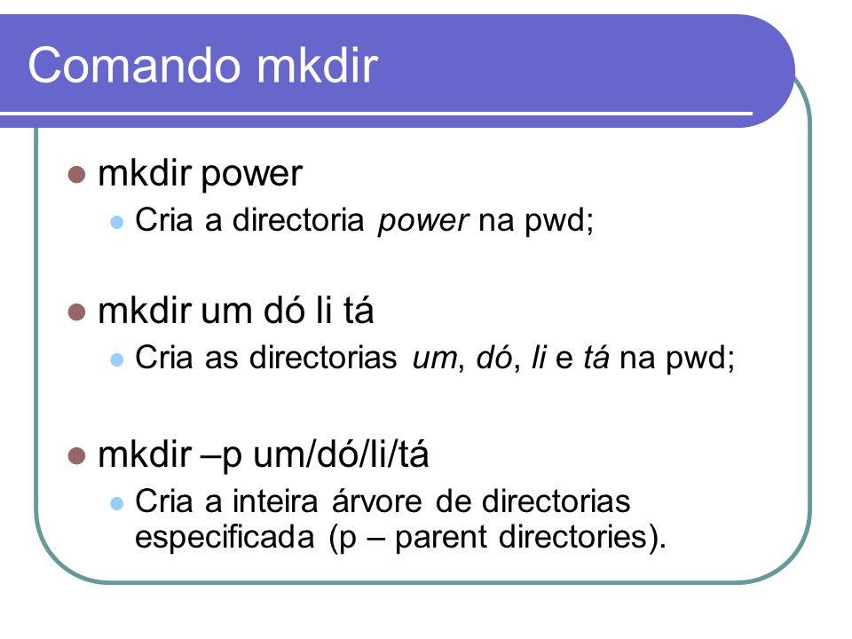 Comando mkdir mkdir power mkdir um dó li tá mkdir –p um/dó/li/tá
