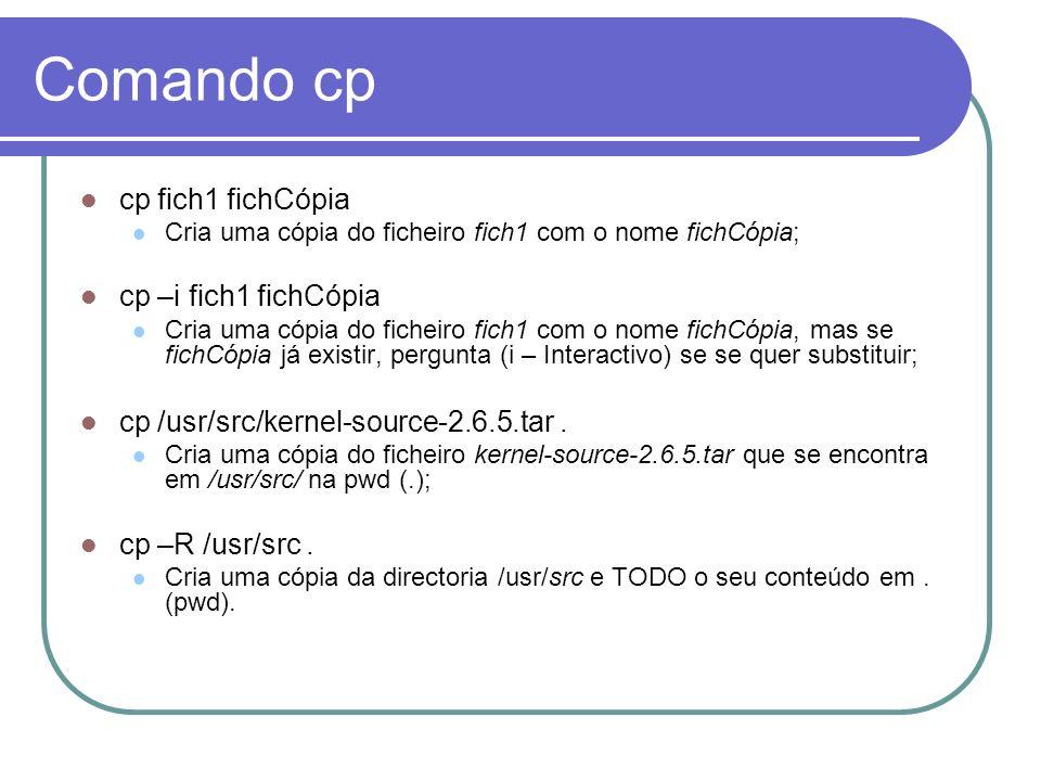 Comando cp cp fich1 fichCópia cp –i fich1 fichCópia
