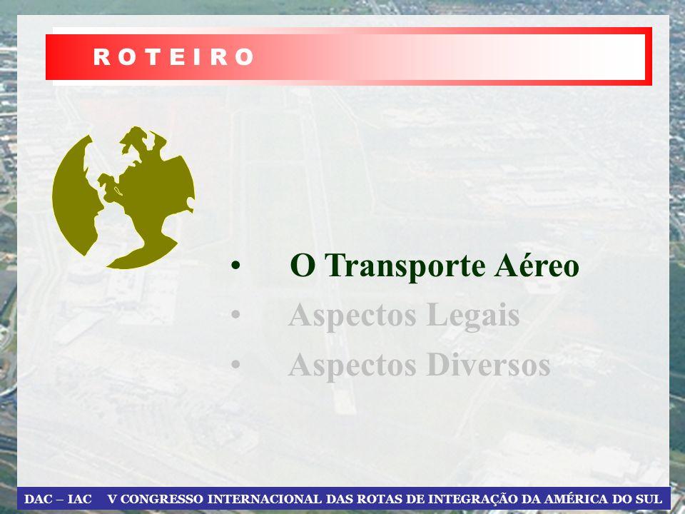R O T E I R O O Transporte Aéreo Aspectos Legais Aspectos Diversos