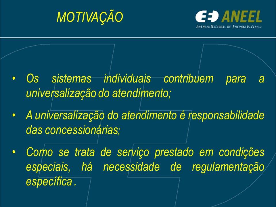 MOTIVAÇÃO Os sistemas individuais contribuem para a universalização do atendimento;