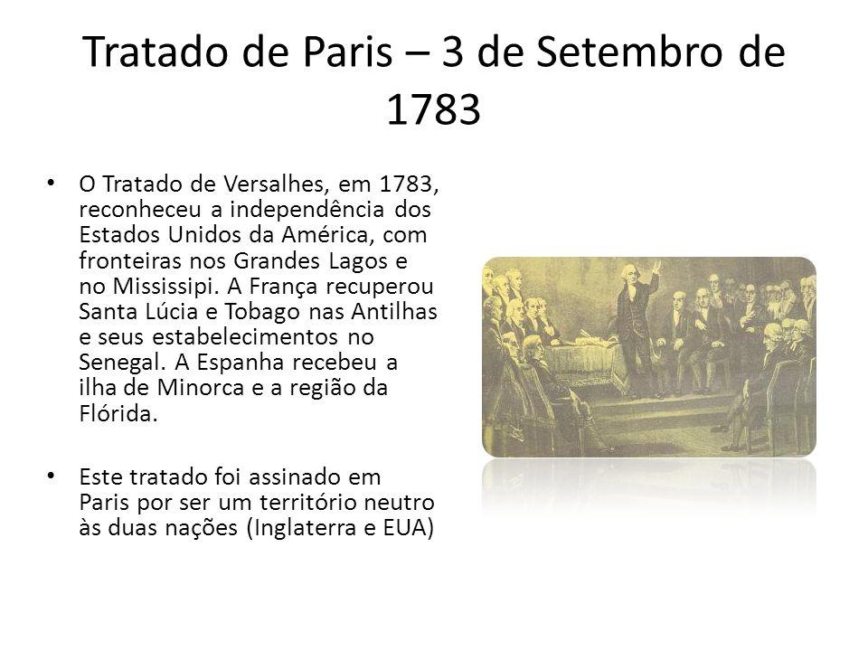 Tratado de Paris – 3 de Setembro de 1783