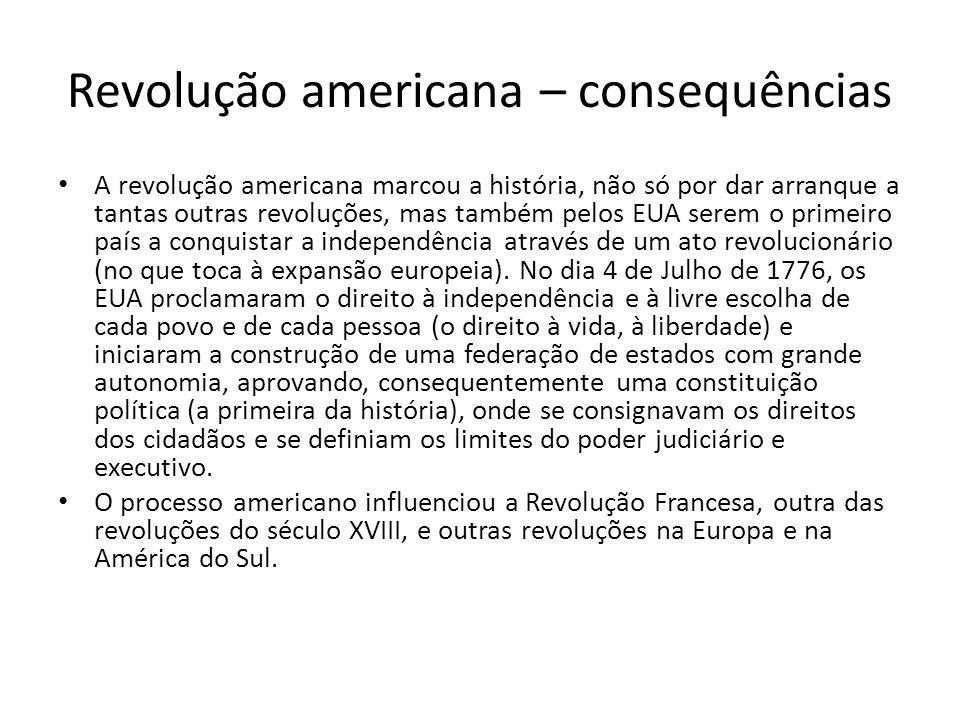 Revolução americana – consequências
