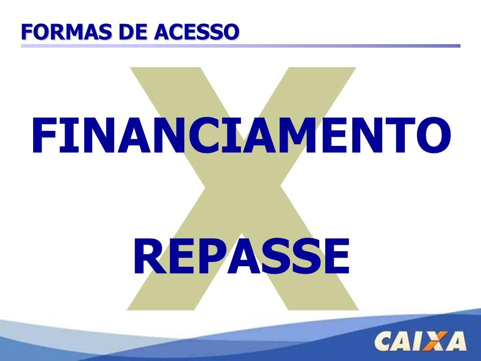 X FORMAS DE ACESSO FINANCIAMENTO REPASSE