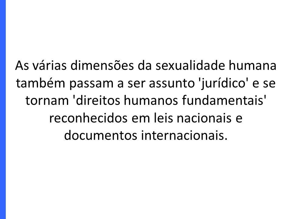 As várias dimensões da sexualidade humana também passam a ser assunto jurídico e se tornam direitos humanos fundamentais reconhecidos em leis nacionais e documentos internacionais.