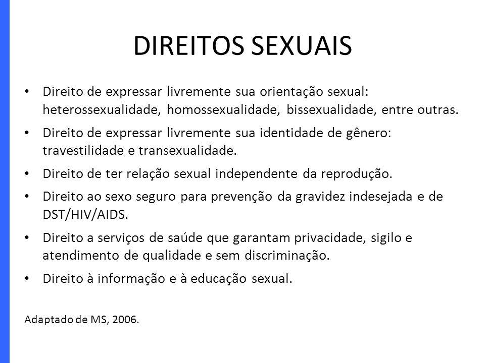 DIREITOS SEXUAIS Direito de expressar livremente sua orientação sexual: heterossexualidade, homossexualidade, bissexualidade, entre outras.