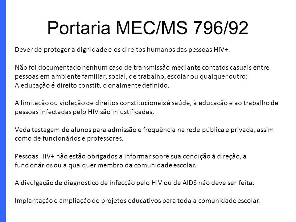 Portaria MEC/MS 796/92 Dever de proteger a dignidade e os direitos humanos das pessoas HIV+.