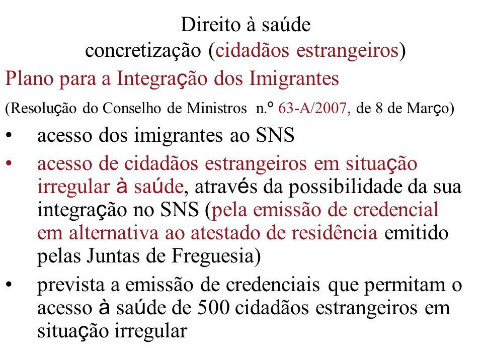 Direito à saúde concretização (cidadãos estrangeiros)