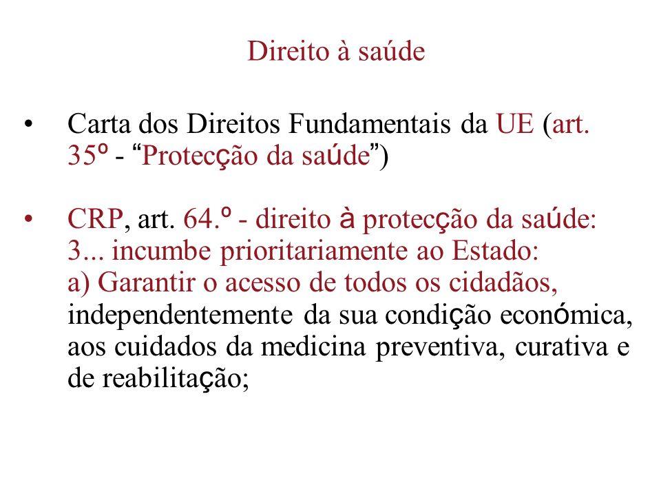 Direito à saúde Carta dos Direitos Fundamentais da UE (art. 35º - Protecção da saúde ) CRP, art. 64.º - direito à protecção da saúde: