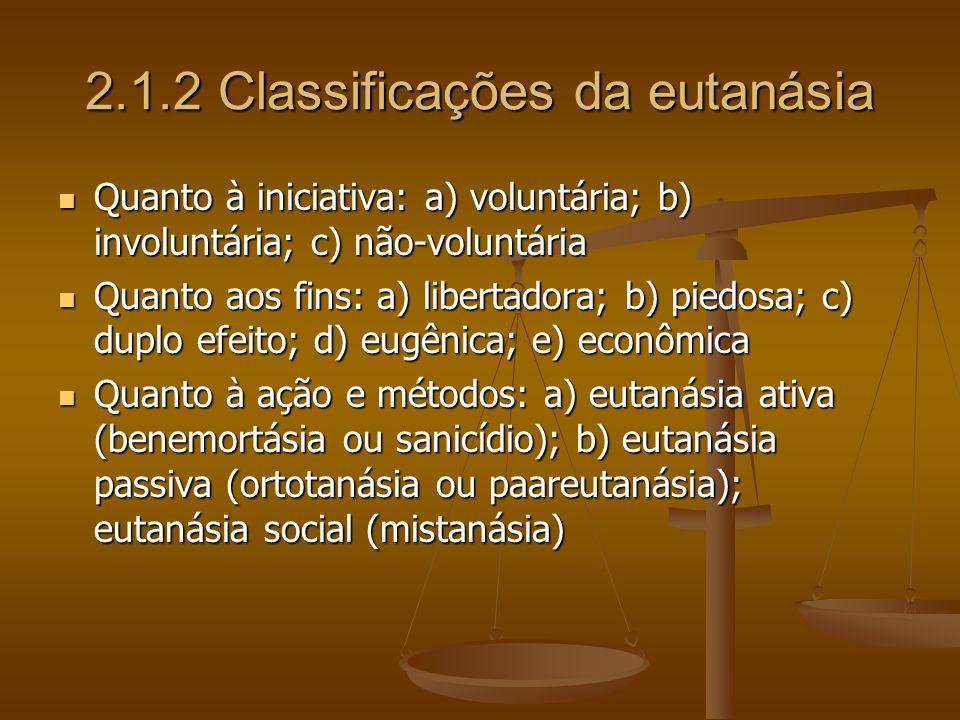 2.1.2 Classificações da eutanásia