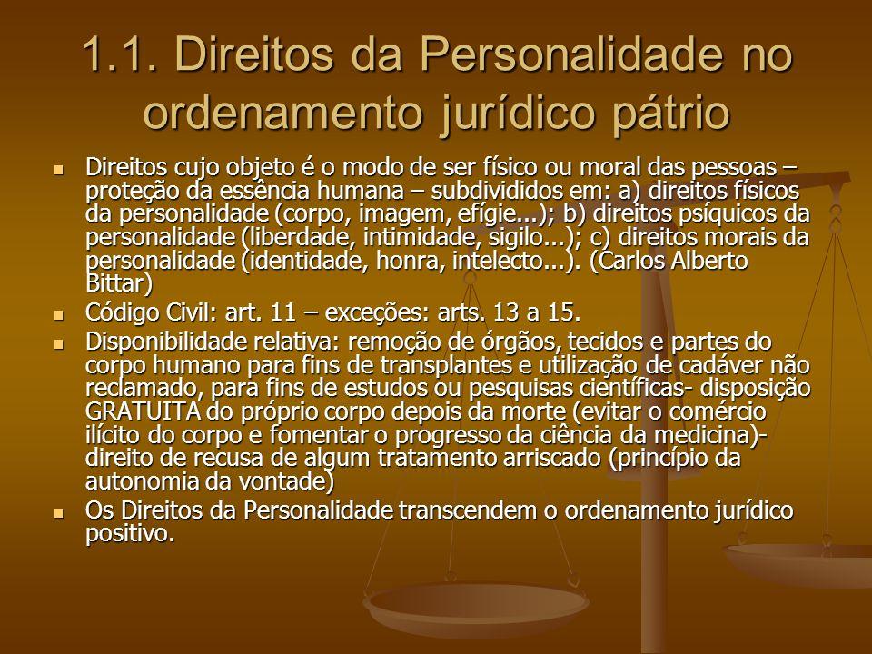 1.1. Direitos da Personalidade no ordenamento jurídico pátrio