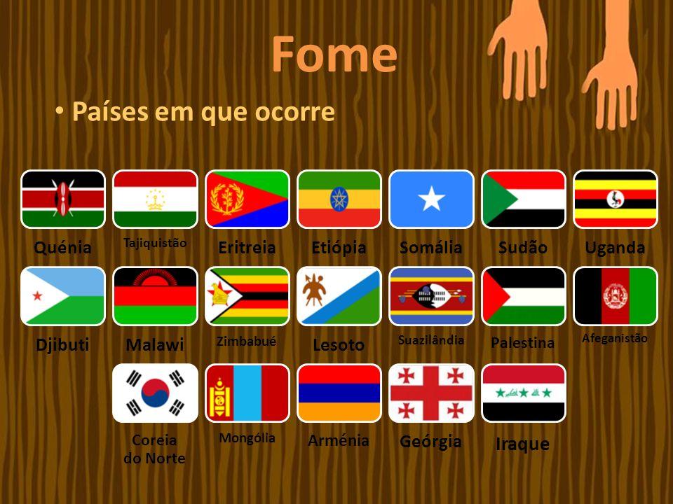 Fome Países em que ocorre Iraque Quénia Eritreia Etiópia Somália Sudão