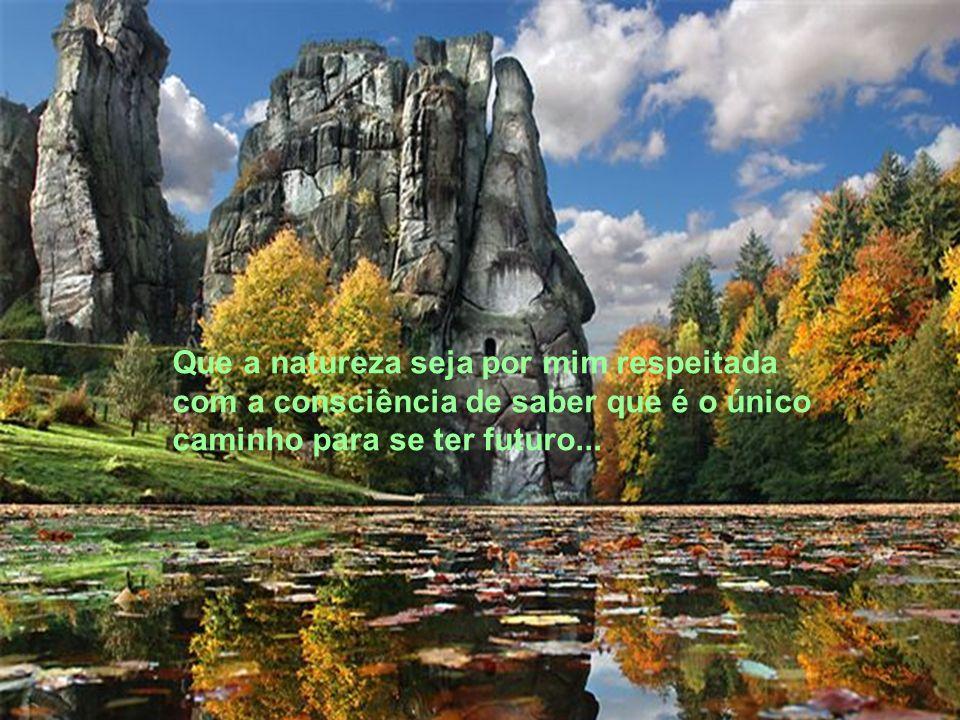 Que a natureza seja por mim respeitada com a consciência de saber que é o único caminho para se ter futuro...