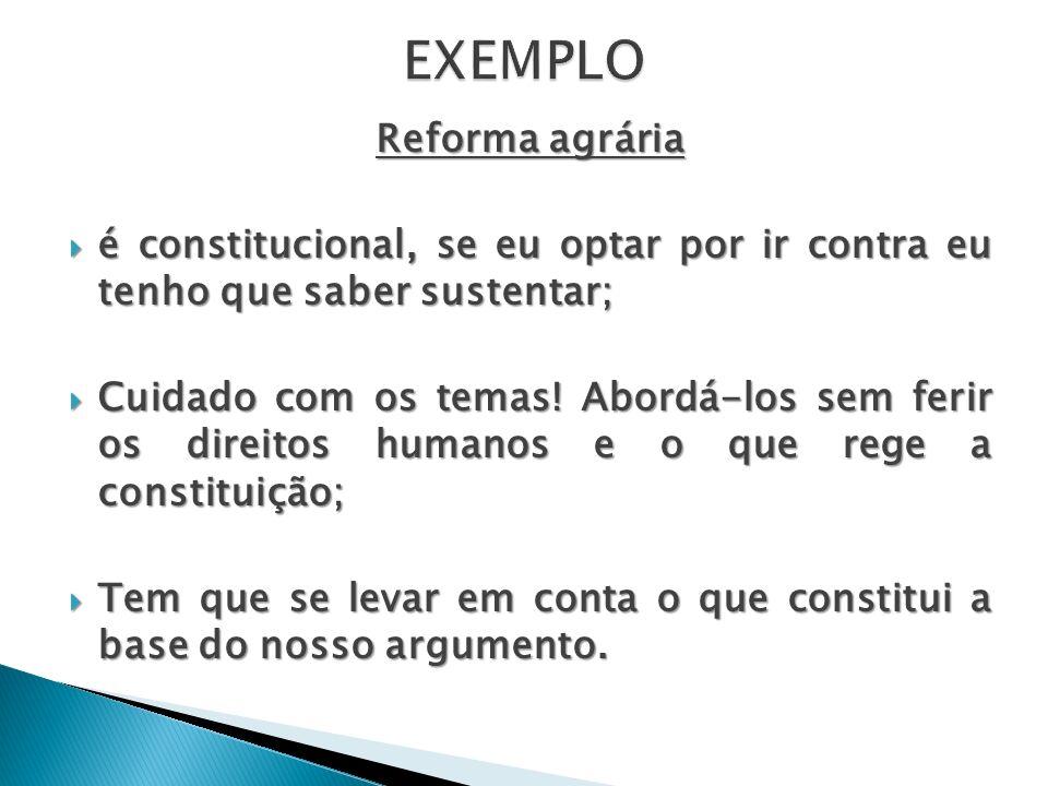 EXEMPLO Reforma agrária