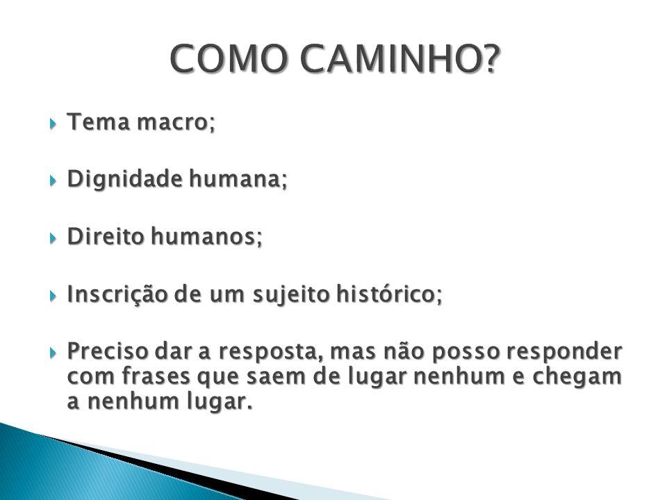 COMO CAMINHO Tema macro; Dignidade humana; Direito humanos;